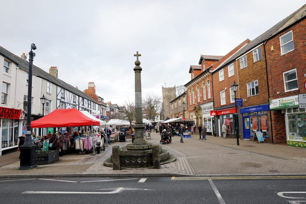 Poulton Market Square in the town centre on Market Day. Part of the history of Poulton-le-Fylde