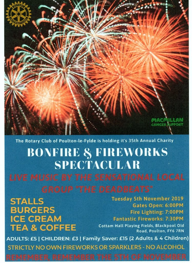 Bonfire night and fireworks with Poulton Rotary Club, 2019