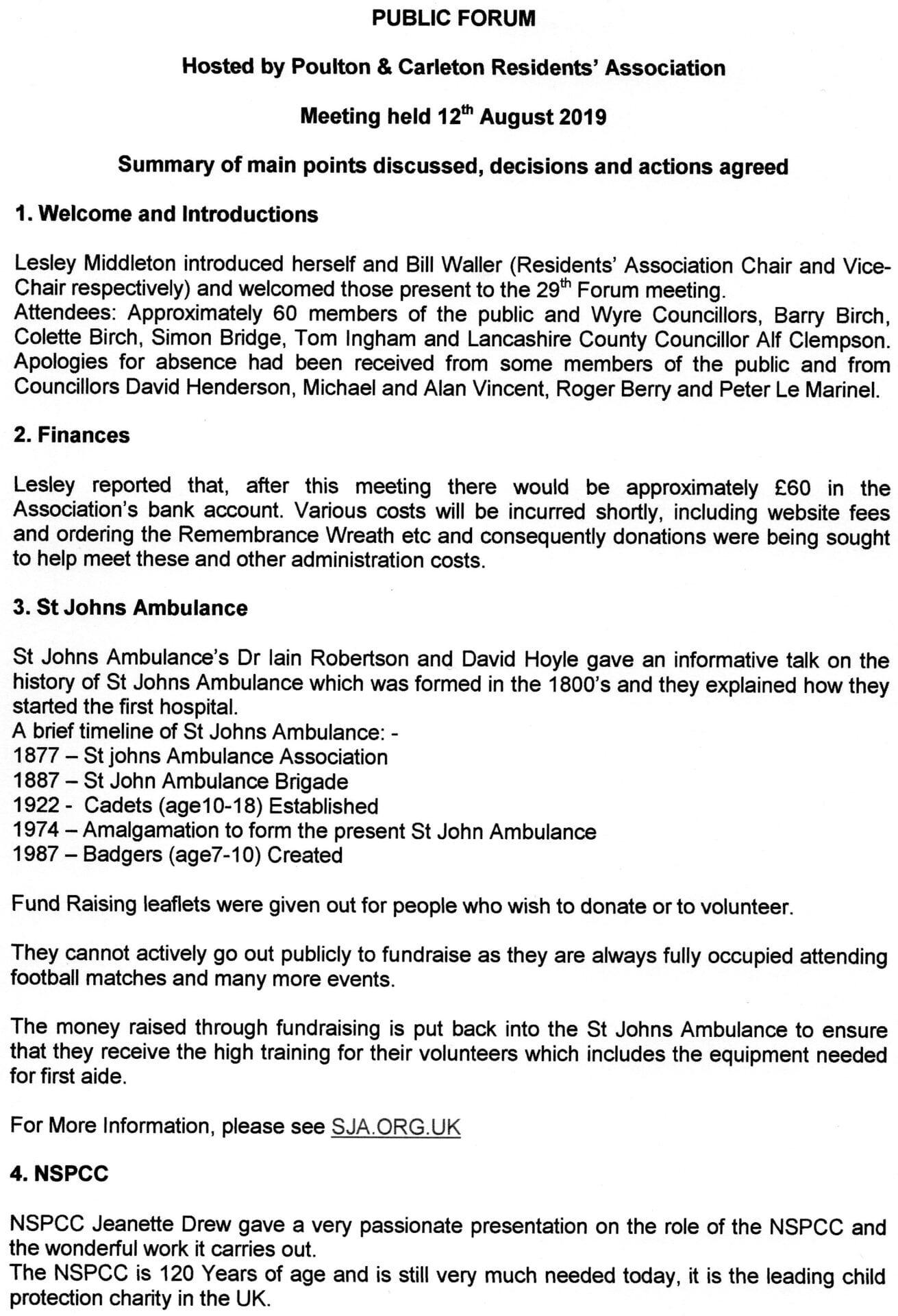 Minutes of Poulton Forum August 2019, page 1