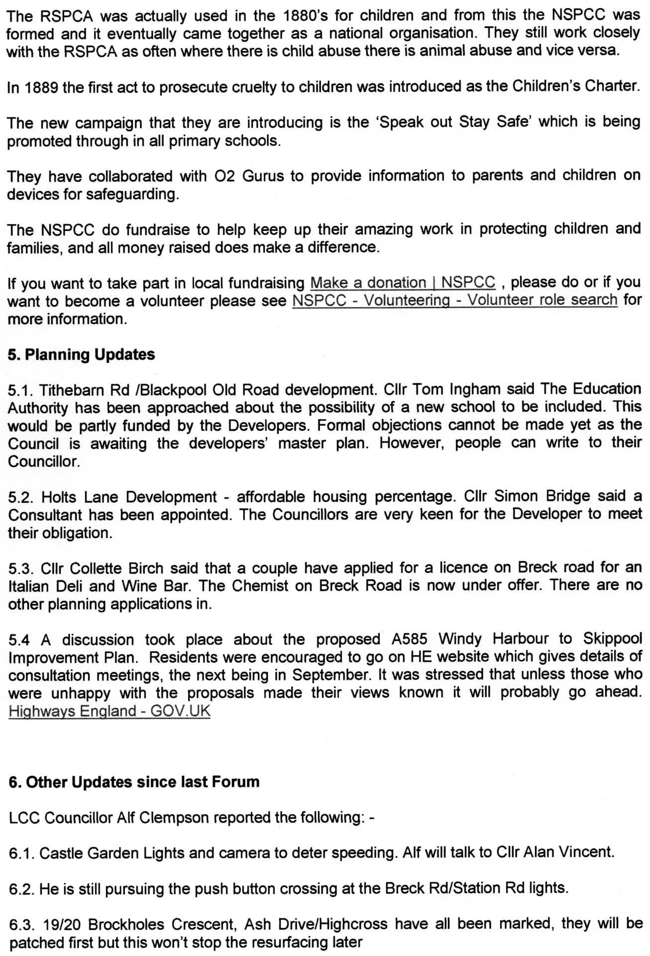 Minutes of Poulton Forum August 2019, page 2